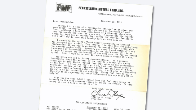 Letter from Chuck Royce announcing his management of Pennsylvania Mutual Fund